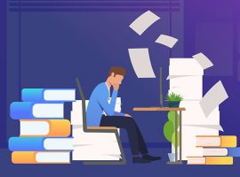 Office man getting through paper work. Mess, paper piles, employer. Unorganized office work concept. Vector illustration for webpage, landing page